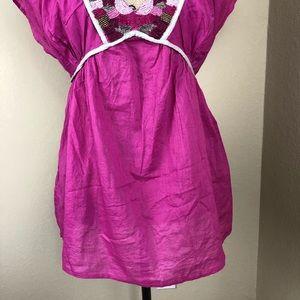 Moda International Tops - Moda International Pink Beaded Cotton Top M